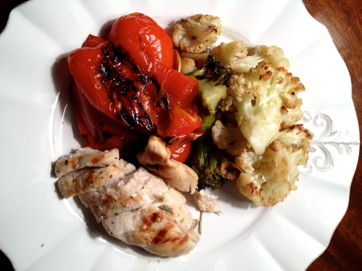 Grilled chicken breast with charred red pepper and roasted cauliflower