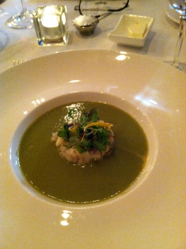 Asparagus-Spring Onion Soup with chili roasted Dungeness crab meat and green garlic, at The Farmhouse