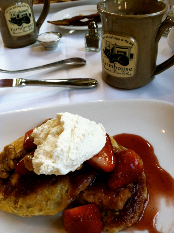 The Farmhouse Inn's decadent breakfast pancakes with enough mascarpone cheese to classify it as dessert.