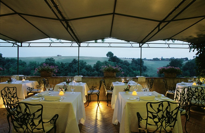Arnolfo Ristorante in Colle di Val d'Elsa is an elegant Relais & Chateaux property with a terrace surrounded by rolling hills and cypresses. Chef Gaetano Trovato trained with a few of Europe's most notable chefs.