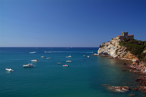 Castiglione della Pescaia, an ancient seaside town in Grosseto with views of nearby Elba and Giglio.
