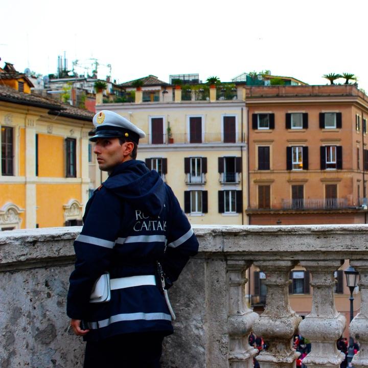 Keeping watch at Piazza di Spagna