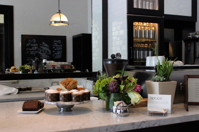 The cafe bar at Spruce in Presidio Heights, where Pastry Chef Robert's famous lemon yogurt cake with raspberries can be found, as well as his delectable cookies