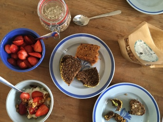 Local yogurt and strawberries from the market and a myriad of freshly baked bread from the downstairs bakery, still warm from the oven