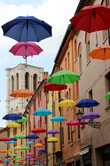 Floating umbrellas on Via Mazzini
