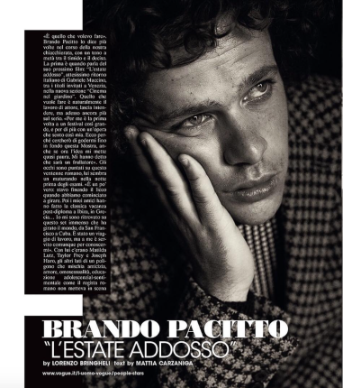 From Lorenzo's Instagram: Brando Pacitto for L'uomo Vogue