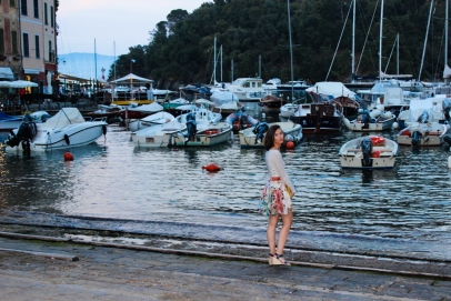 My sister at the edge of the port.