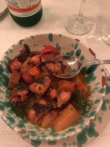 Divine octopus and stewed vegetables at Masseria Potenti