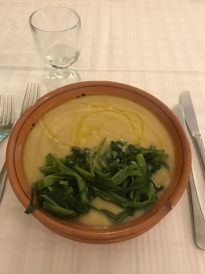 The very typical pure di fave con cicoria